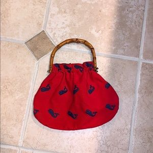 Vintage wooden handle purse red with whale